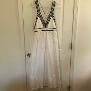 J Crew White and Navy Linen Maxi Small